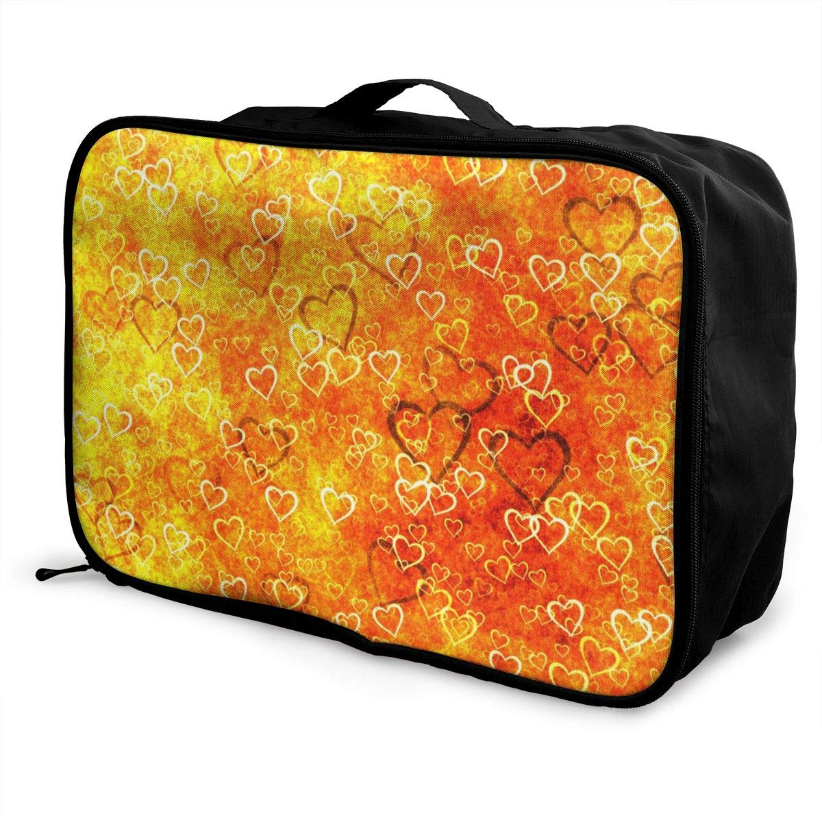 Orange Texture Heart Travel Lightweight Waterproof Foldable Storage Carry Luggage Large Capacity Portable Luggage Bag Duffel Bag