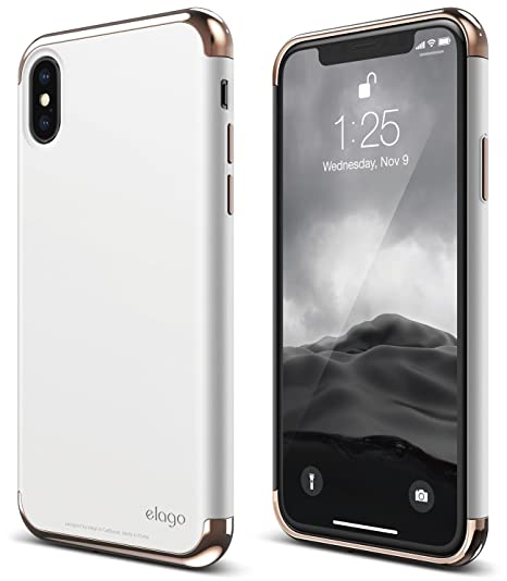 buy popular 0b203 30fcb elago Empire Series iPhone X Case - Scratch Resistant Grip Coated Slim Fit  Dual Toned Protective Cover for Apple iPhone X (2017) - Gold/White