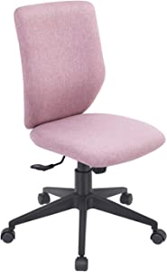 Bowthy Armless Office Chair Ergonomic Computer Task Desk Chair Without Arms Mid Back Fabric Swivel Chair (Pink)