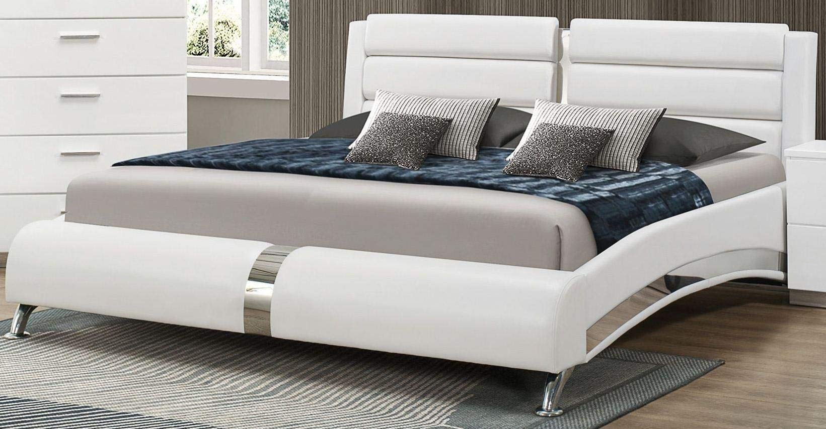 Coaster Home Furnishings 300345Q Upholstered Bed, 65'' W x 97.5'' D x 40'' H, White/Chrome