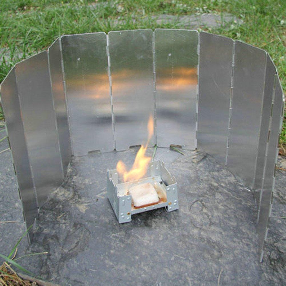 Symboat 8//9//10/pcs Placas Plegable Camping en Plein Air Cocina Pare-Vent Gas Cocina Parabrisas Herramientas