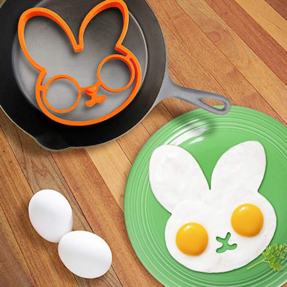 Naranja Desayuno Silicone Rabbit Fried Egg Molde Anillo Panqueque Shaper Herramientas de Cocina Utensilios de Cocina Regalo para Niños Oferta de Stock: ...
