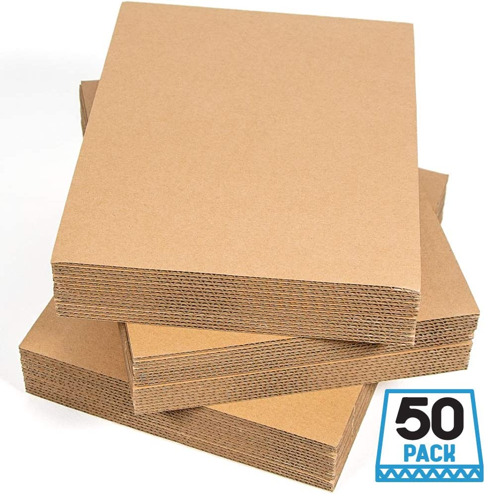 Sodaxx (Qty 50) Corrugated Cardboard Sheets 8.5 x 11 Inches Kraft Brown Flat Cardboard Sheets, Paper Cardboard Inserts for Packing, Mailing, Crafts, Letter Size 8.5 x 11 Inches