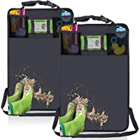 2 Pack Kick Mats with Tissue Holder, Water Proof Car Seat Back Protector with Organizer Storage Pocket –Universal Fit…