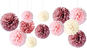 NICROLANDEE Wedding Decorations - 12 PCS Dusty Rose Blush Pink Tissue Pom Poms for Wedding Birthday Bridal Shower Baby Shower Engagement Party Bachelorette Ceiling and Party Backdrop Decor