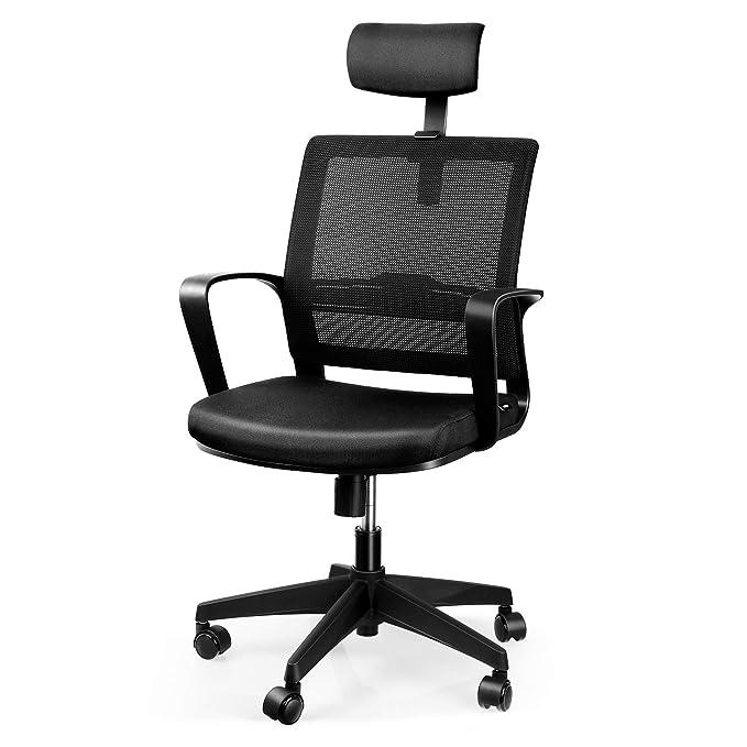amzdeal Chaise de Bureau Si/ège Ergonomique Fauteuil Pivotante de Bureau en Maille Transpirant avec R/églable Oreiller Respirant et Confortable pour R/éduire la Fatigue