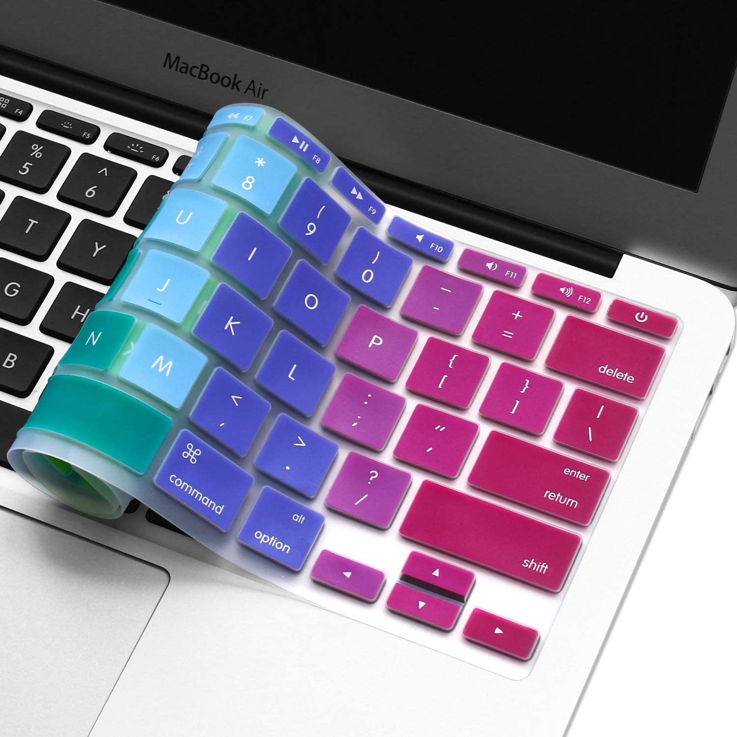 "Silicone Keyboard Cover for 11.6"" MacBook Air Model A1370 & A1465 11 inch Ultra Thin Protective Skin (1 PCS, Gradient- Rainbow)"