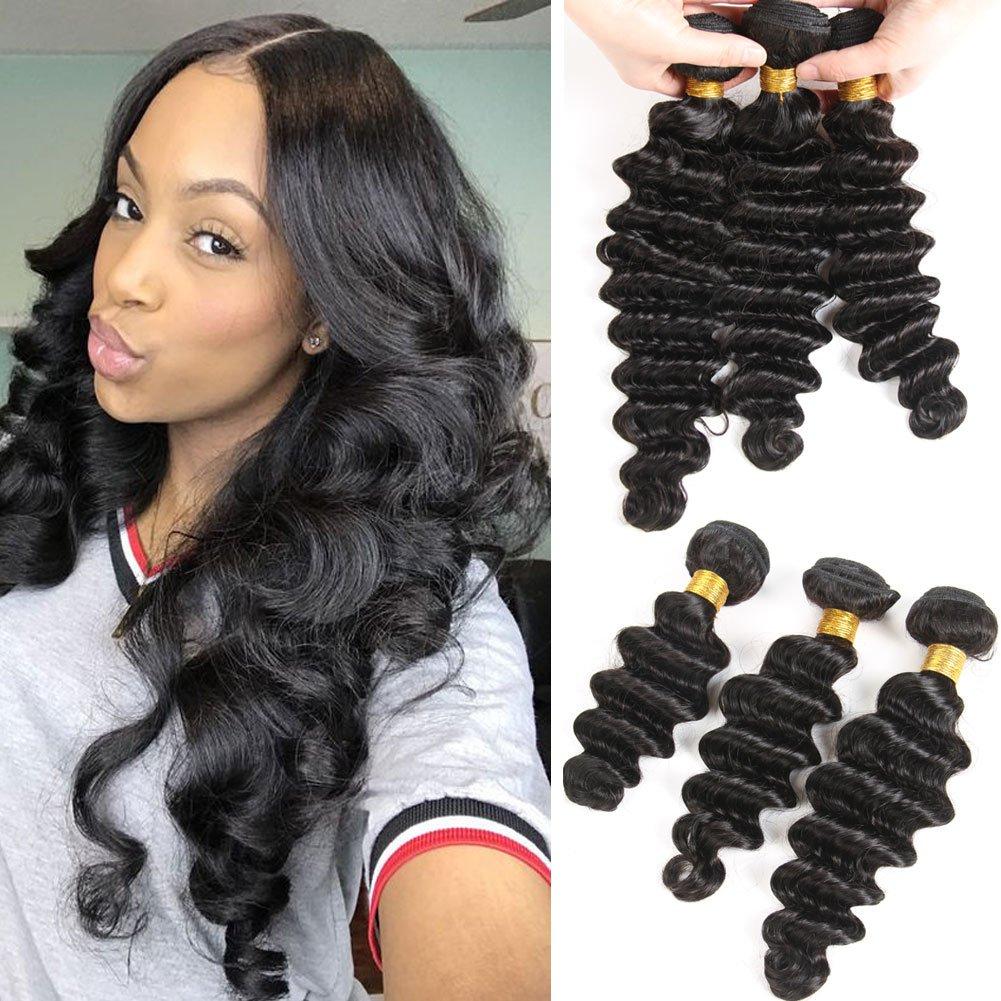 Amazon.com : 10A Brazilian Virgin Hair Loose Deep Wave 3 Bundles  Unprocessed Virgin Human Hair Weave Remy Hair Bundles Natural Color  (10