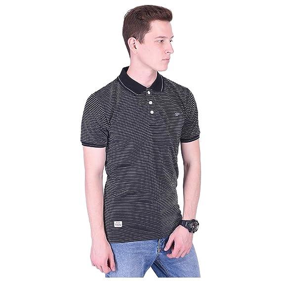 81224f616 Distortion Crew Men's Cotton Polo Neck Half Sleeve T-Shirt(DC9072) (Black