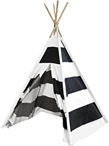 Heritage Kids Play Tent with Stripes, Black/White