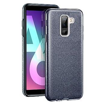 Coovertify Funda Purpurina Brillante Negra Samsung A6 Plus, Carcasa Resistente de Gel Silicona con Brillo Negro para Samsung Galaxy A6 Plus (6