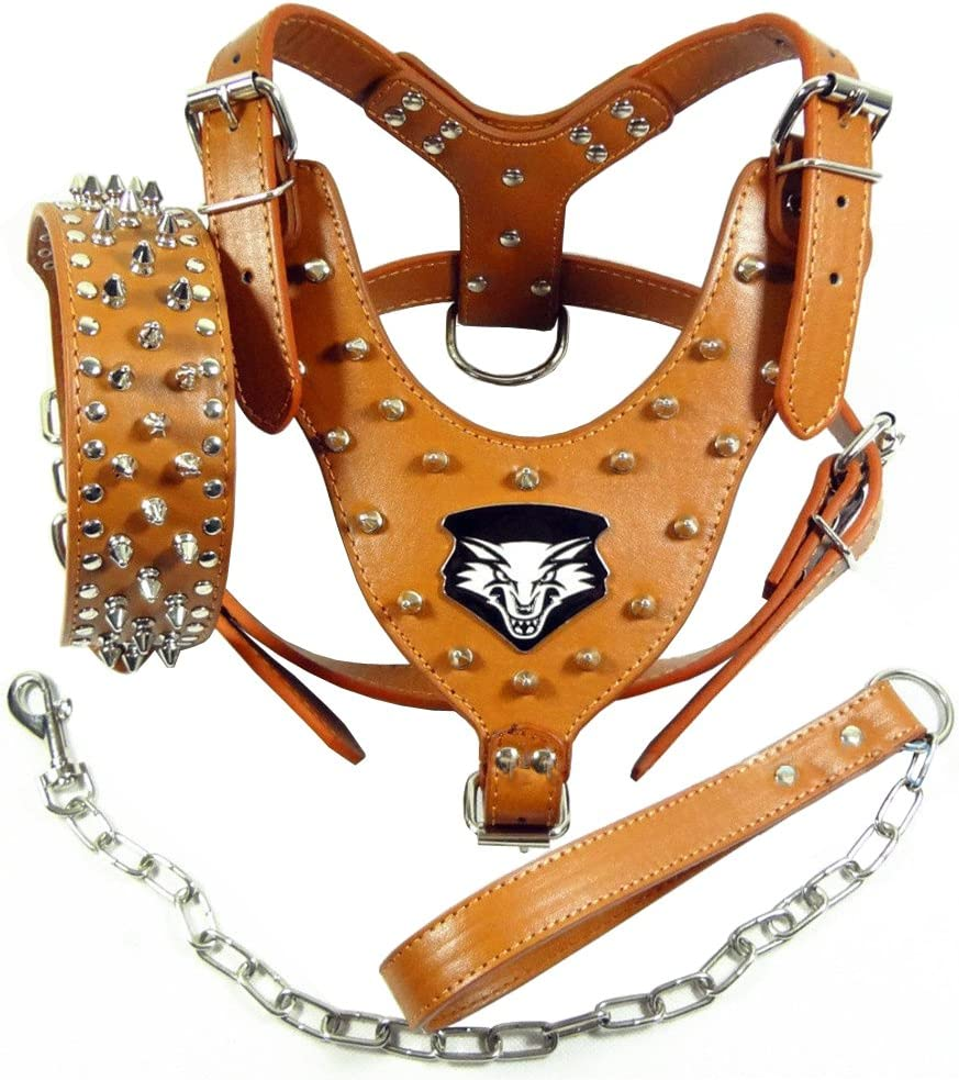 Large Breed Leather Dog Harness Collar SET Spiked Studded PitBull Bully Boxer