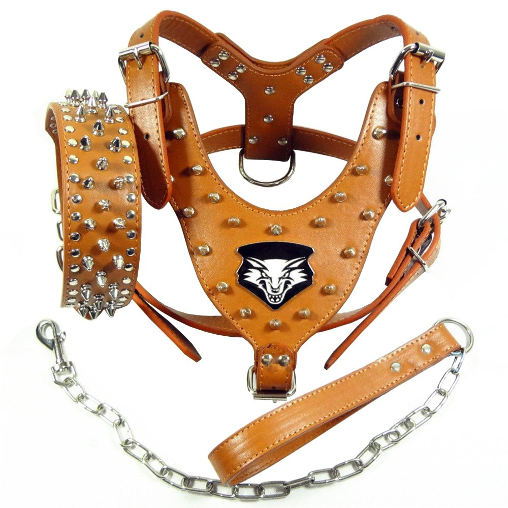 Benala Punk Wolf Spiked Studded Leather Dog Pet Harness Collar and Leash Set for Large Dogs Pitbull Boxer Bully (Brown,Xl)