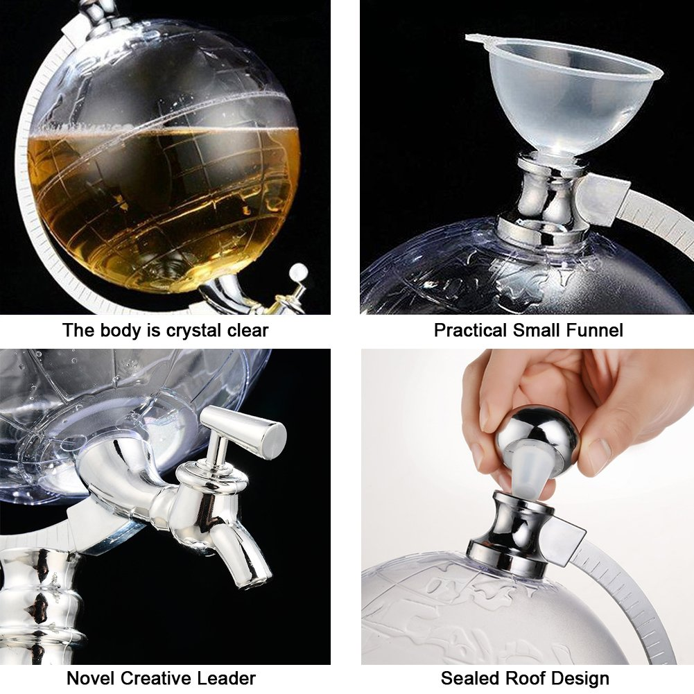 Globe Style Liquor Decanter for Beer Mini Bar Accessories 52 OZ Liquid Drinking Separate Wine Tools Inverted Wine Rack Water Pump Dispenser Machine By OAKZIP by OAKZIP (Image #7)