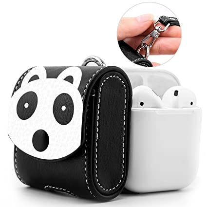 new product d1f20 8e182 MoKo AirPods Case, Snap Closure Protective Cover Carrying Pouch Pocket,  with Holding Strap, for Apple AirPods 1 & AirPods 2 Charging Case - Panda