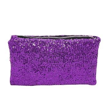 Fashion Korean Style Wholesale Luxury Sequin Dazzling Glitter Bag Women  Clutch Handbag Evening bag (Purple 77555eed0503