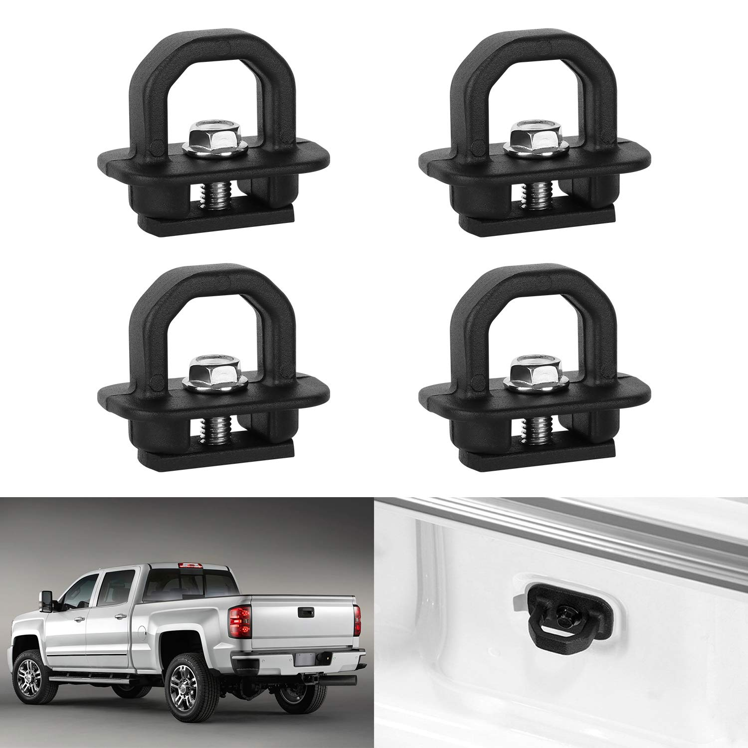 EBESTauto Truck Bed Side Wall Anchors 4Pcs Set Tie Downs Anchor Fits for 07-18 Chevy Silverado GMC Sierra 15-18 Chevy Colorado GMC Canyon