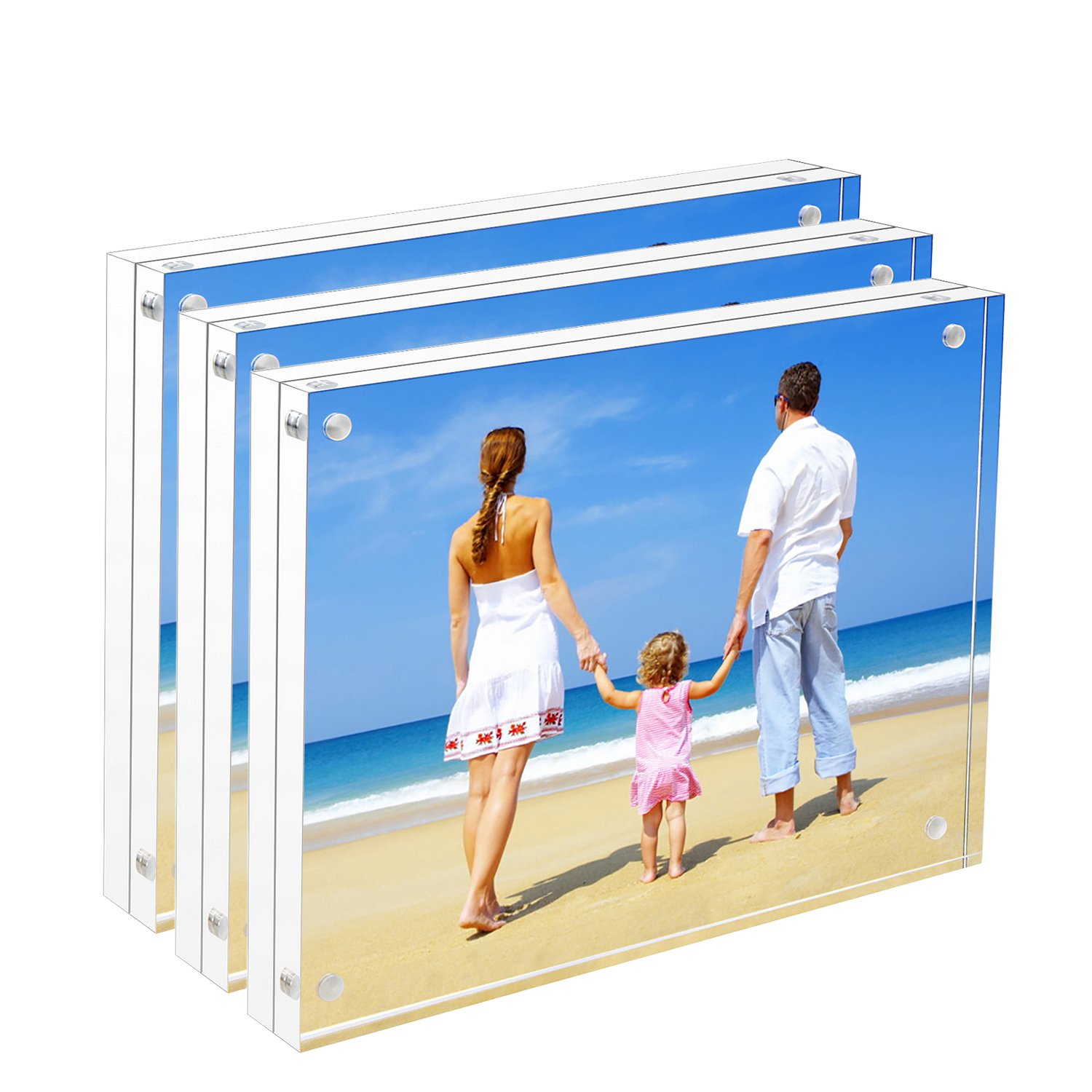 NIUBEE 8x10 Acrylic Frame 3 Pack, Tabletop Double Sided Magnetic Picture  Frame with Retail Gift Box