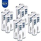 EBL 1.5V Batterie litio, mini stilo AAA con durata lunga, Confezione da 16 pezzi