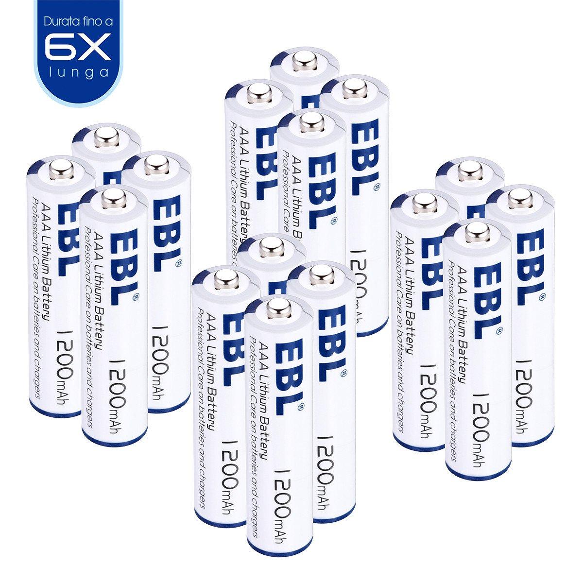 EBL mini stilo Betteria monousa AAA al litio 1.5V 1200mAh con Durata Lunga da 16 pezzi