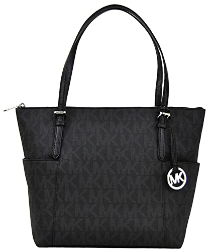 2fbe7bbe4f82 Michael Kors Jet Set Item East West Signature Top Zip Black PVC Tote with  Silver Tone Hardware  Handbags  Amazon.com