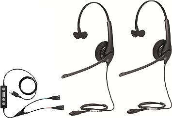 Jabra Biz 1500 Auricular d/úo con micr/ófono con cancelaci/ón de ruido con conexi/ón USB