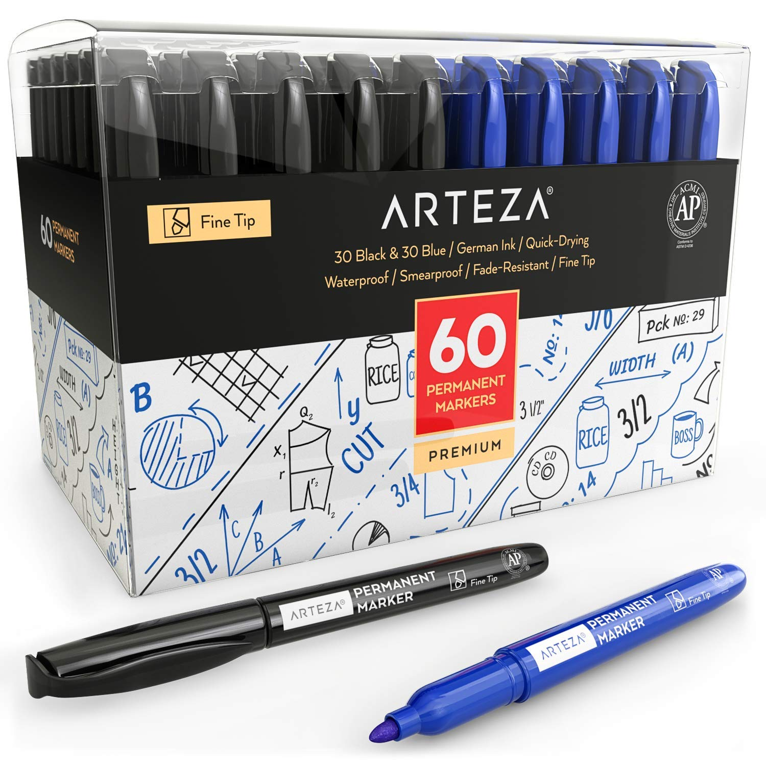 ARTEZA Permanent Markers Set of 60 (30 Black and 30 Blue, Fine Tip) - Quick Drying - Waterproof - Premium Quality Permanent Marker Fine Tip Pens
