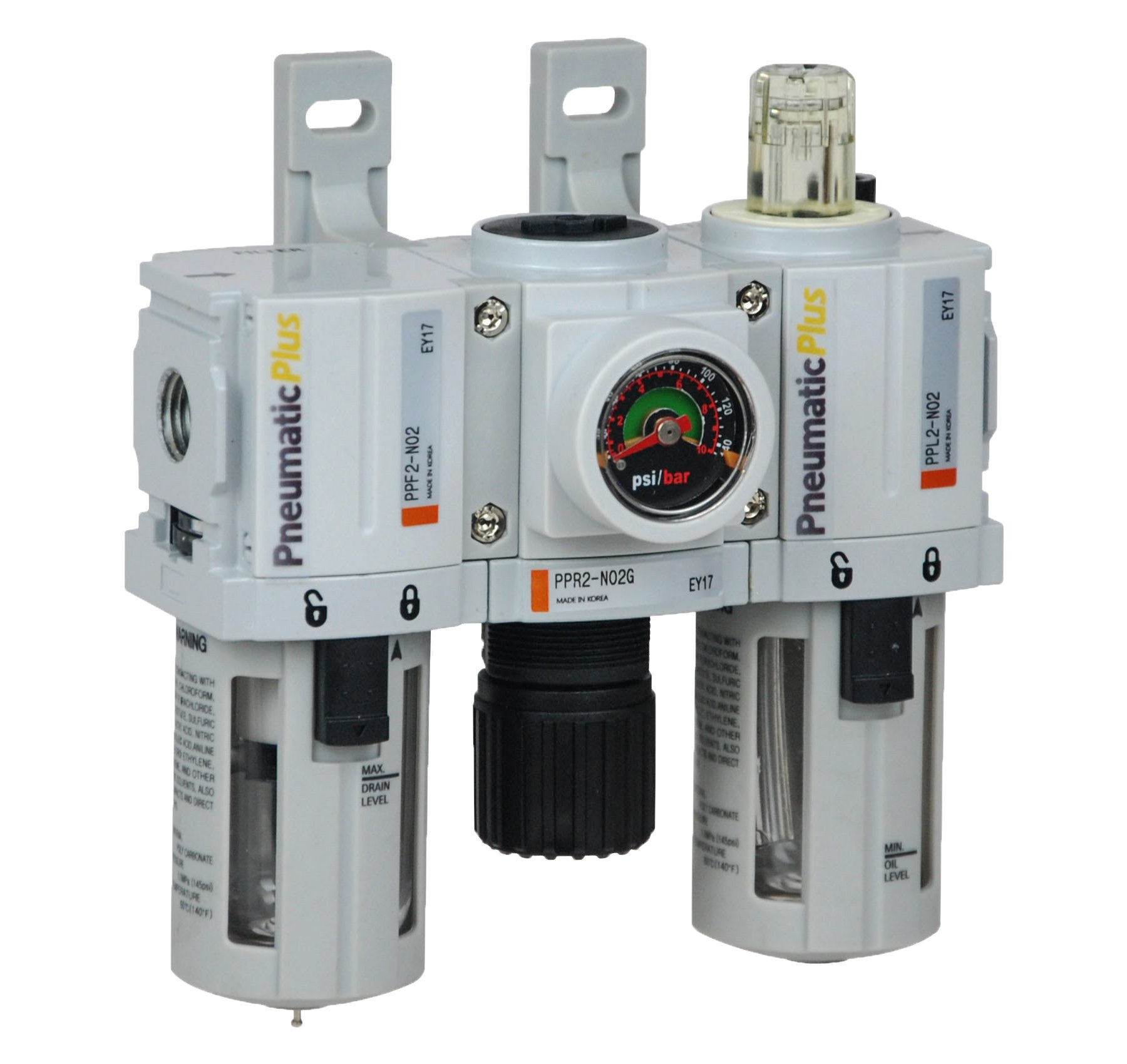 PneumaticPlus PPC2-N02G Mini Compressed Air Filter Regulator Lubricator Combo 1/4'' NPT - Poly Bowl, Manual Drain, Embedded Gauge