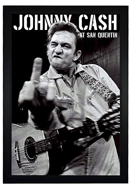 Johnny cash middle finger flipping with guitar 24x36 framed poster