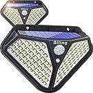 Luces LED Solares Para Exteriores, Biling 102 LED Luz Solar Exterior con Sensor de Movimiento Lámparas Solares Inalámbricas Impermeable Gran Ángulo 270º 3 Modos Inteligentes para Jardín-Paquete 2