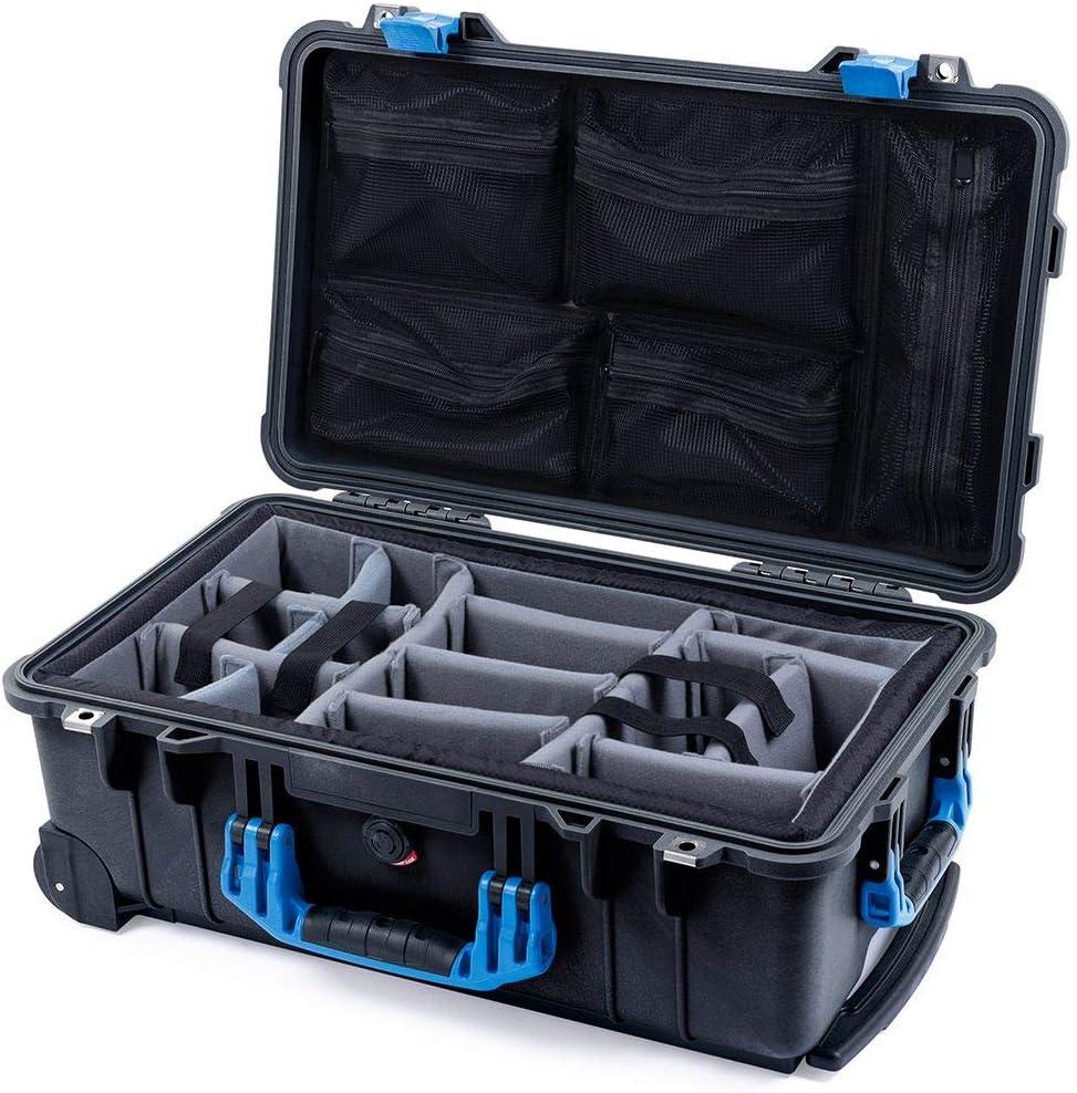 Black /& Blue Pelican 1510 case with Grey CVPKG dividers /& mesh lid Organizer.