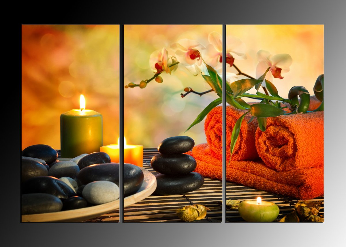 HappyHouseArt 3 panel wall art painting spa stone bamboo candles home decoration canvas prints pictures for living room No Frame