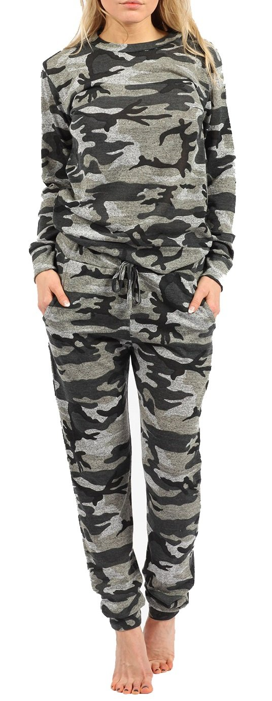 Crazy Girls Womens Girls Kids Camouflage Jogging Suit Camo Print Loungewear Full Tracksuit