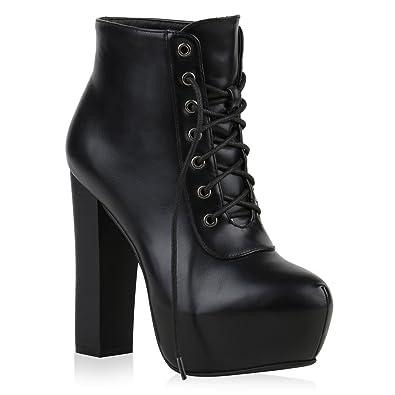 sale retailer 9c832 08797 Stiefelparadies Geschnürte Damen Plateau-Boots Block Absatz Stiefeletten  Flandell