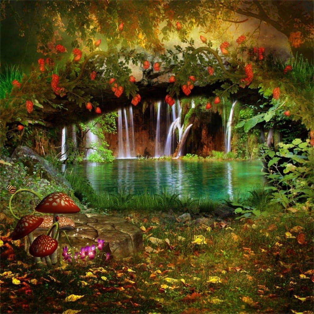 Leowefowa Spring Waterfall Backdrop For Photography 5x5ft Vinyl Fairytale Wonderland Arch Bridge Riverside Mushrooms Background Children Play Kids Baby Portrait Shoot Photo Booth Wallpaper Bday Banner
