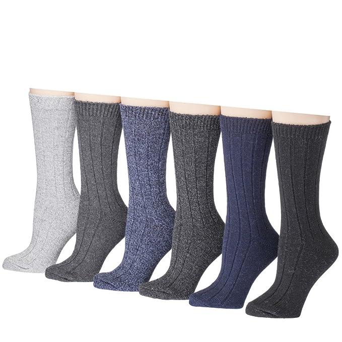 Tipi Toe Mujer 6-Pack mezcla de lana Crew Calcetines para botas,