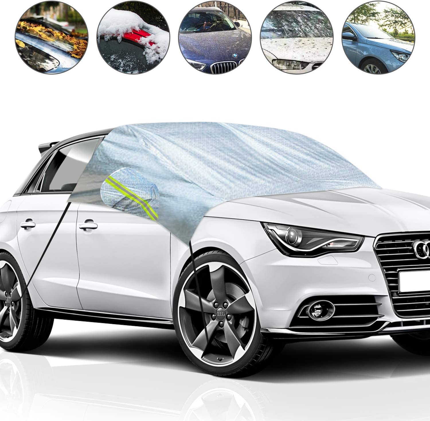 Car Windshield Cover for Ice and Snow with Mirror Cover Waterproof Protector All Weather Winter Summer Sun Shade ABLEWIPE Windshield Snow Cover for Car