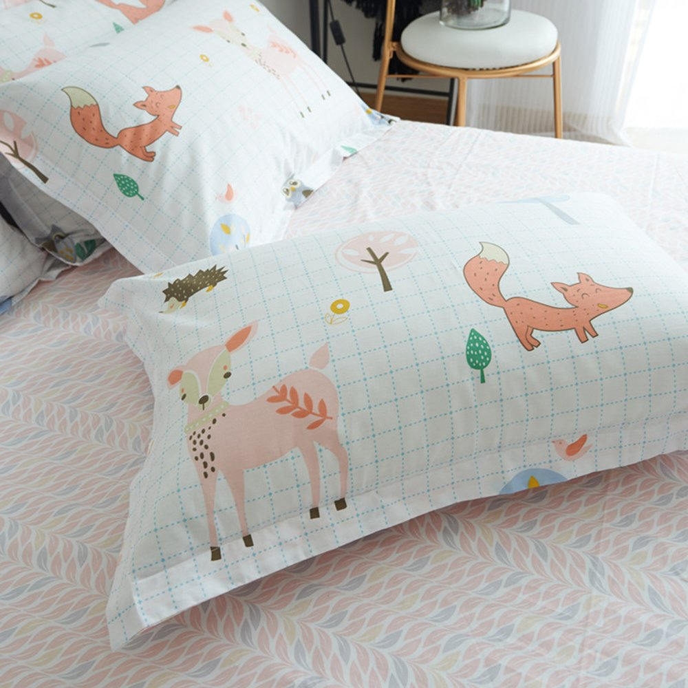 BuLuTu 100% Cotton Animal Bedding Duvet Cover Sets Queen White 3 Pieces Woodland Kids Bedding Sets Full for Boys Girls Zipper Closure with 4 Ties,1 Duvet Cover and 2 Pillowcases,90''x90'' by BuLuTu (Image #4)
