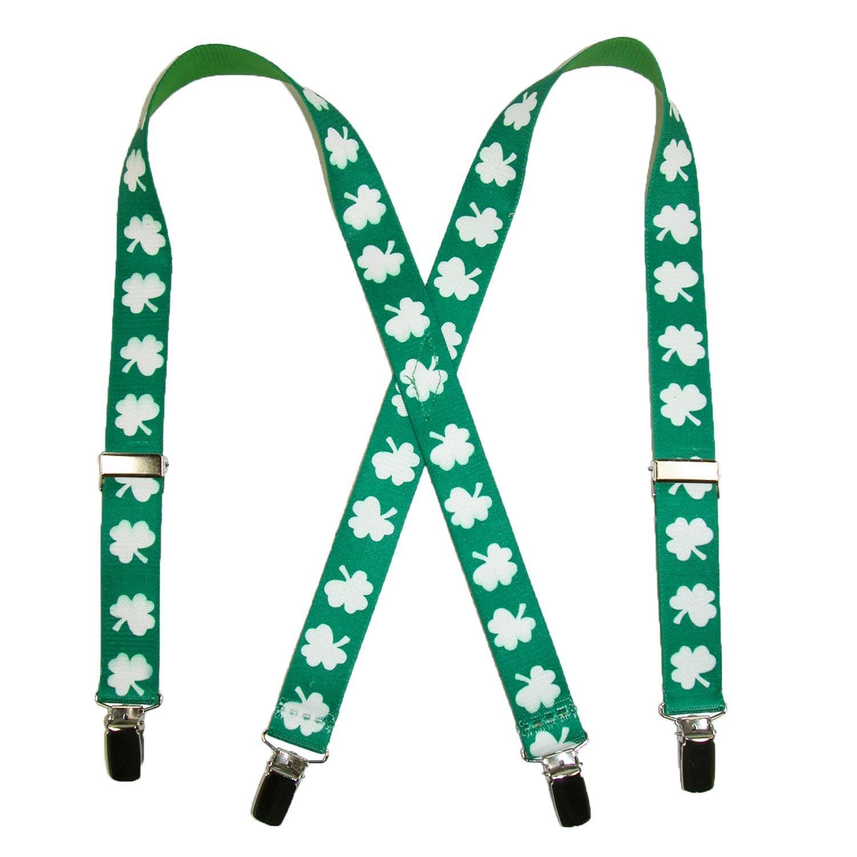 CTM Kids' Elastic St. Patricks Day Shamrock Clip End Suspenders, Green