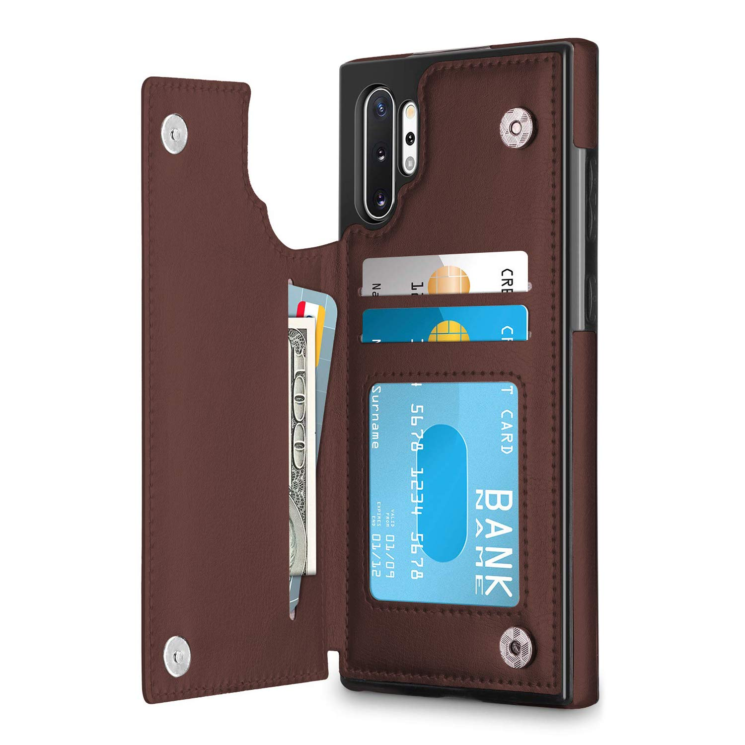 Oihxsetx Wallet Case for Galaxy Note 10 Plus with Credit Card Holder, Premium PU Leather Card Slots, Protective Flip Folio Cover Compatible with Galaxy Note 10 Plus - Brown by Oihxsetx
