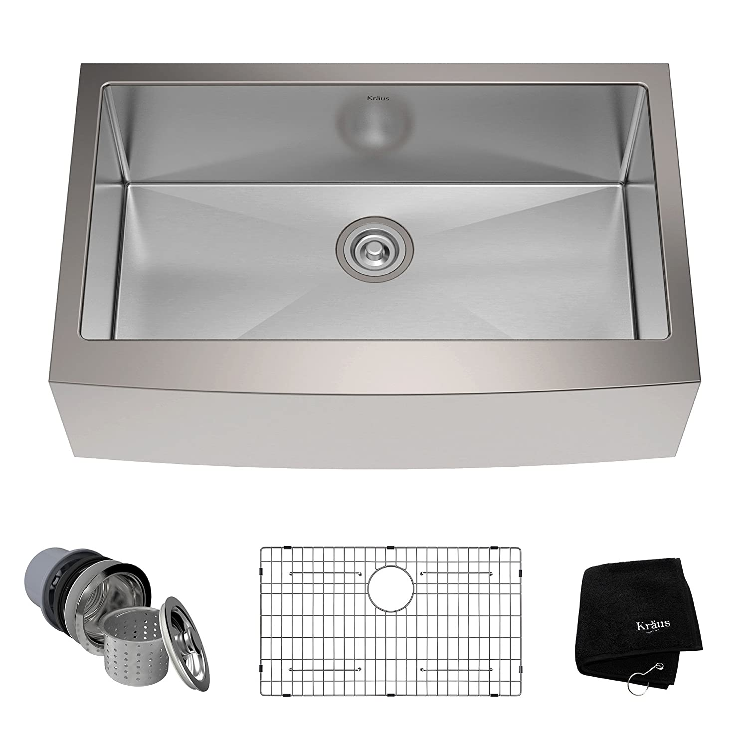 Kraus KHF200-33 33-inch Farmhouse Apron Single Bowl 16-gauge Stainless Steel Kitchen Sink