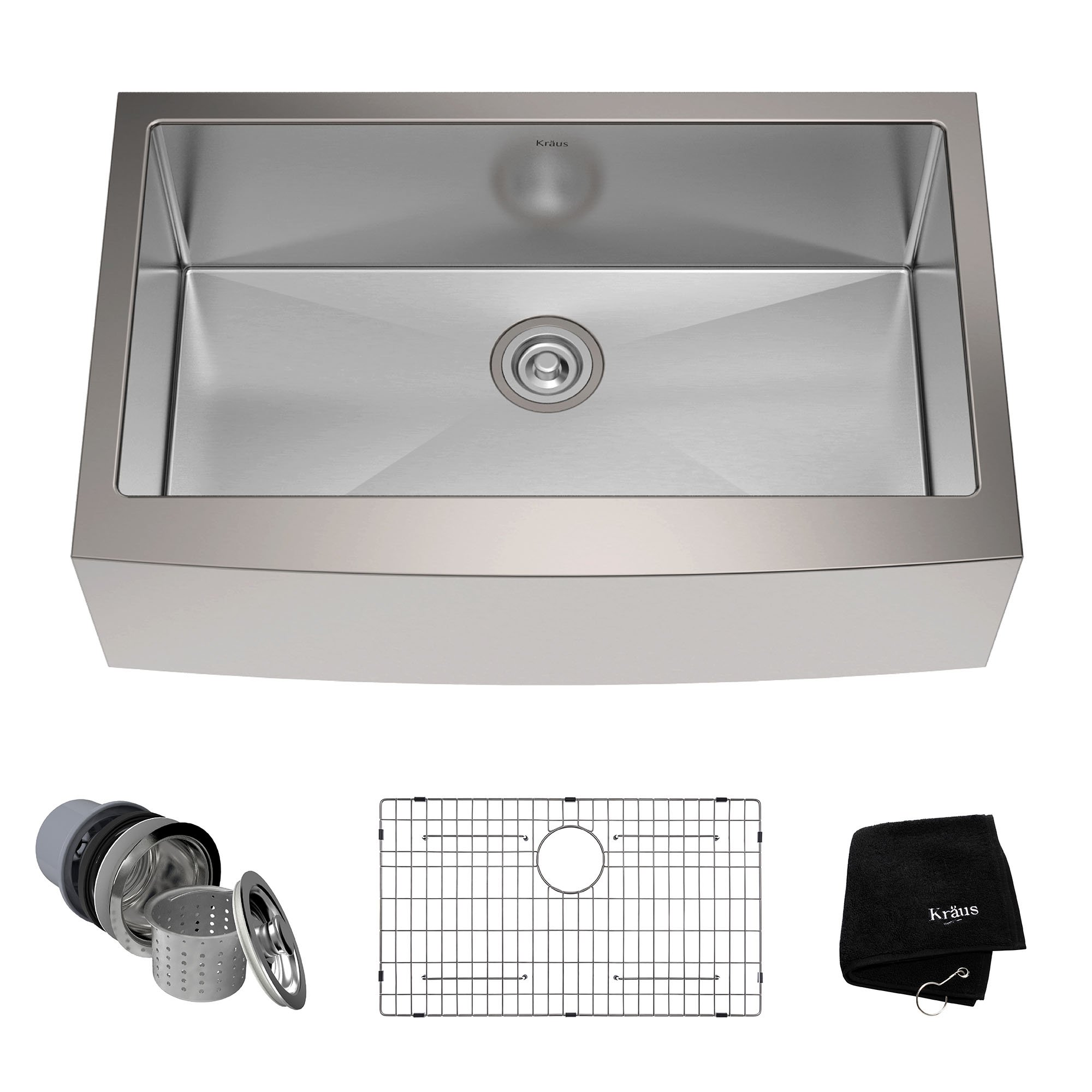 Kraus KHF200-33 33-inch Farmhouse Apron Single Bowl 16-gauge Stainless Steel Kitchen Sink by Kraus