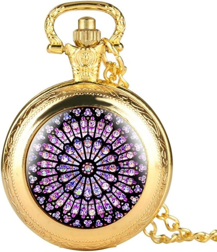 MOLINB Reloj de Bolsillo El rosetón Vidrieras Notre Dame de Paris Reloj de Bolsillo de la Catedral Símbolo del Patrimonio Cultural de París Coleccionables únicos