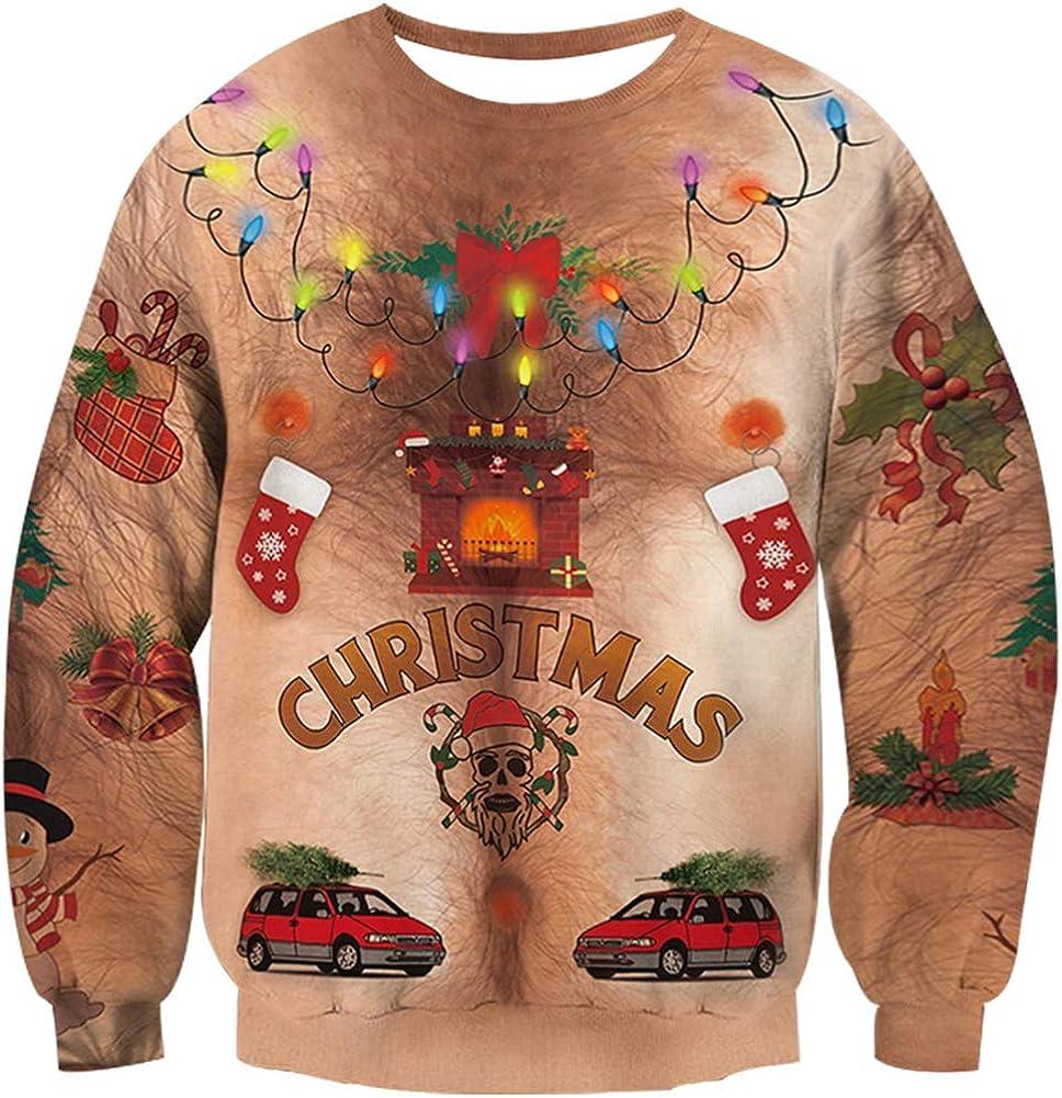 Loveternal Unisexo Jersey Navide/ño 3D Ugly Christmas Sweater Manga Larga Xmas Pullover S-3XL