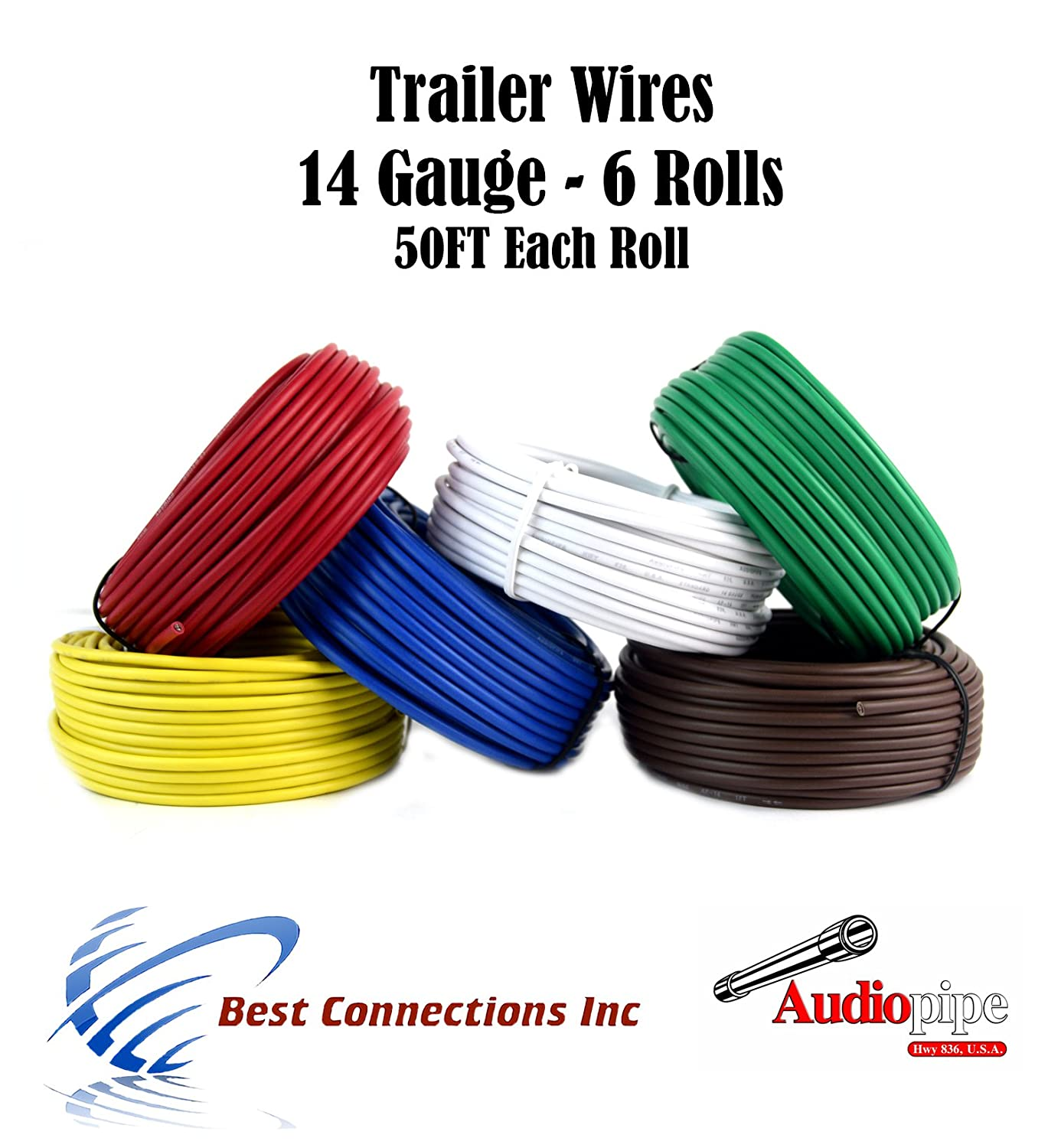 Trailer Light Cable Wiring For Harness 50 Feet 14 Gauge 6 Wire Colors Everything Else