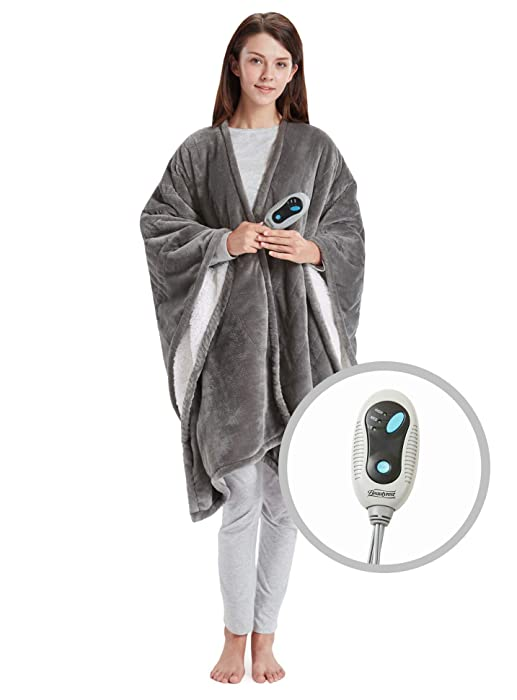 "Beautyrest Ultra Soft Sherpa Berber Fleece Electric Poncho Wrap Blanket Heated Throw with Auto Shutoff, 50"" W x 64"" L, Grey"