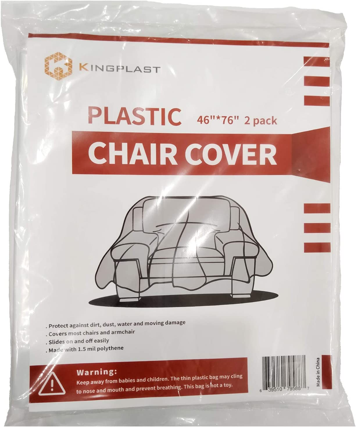 Kingplast 2 Pack Plastic Chair Cover for Moving and Storage, 46