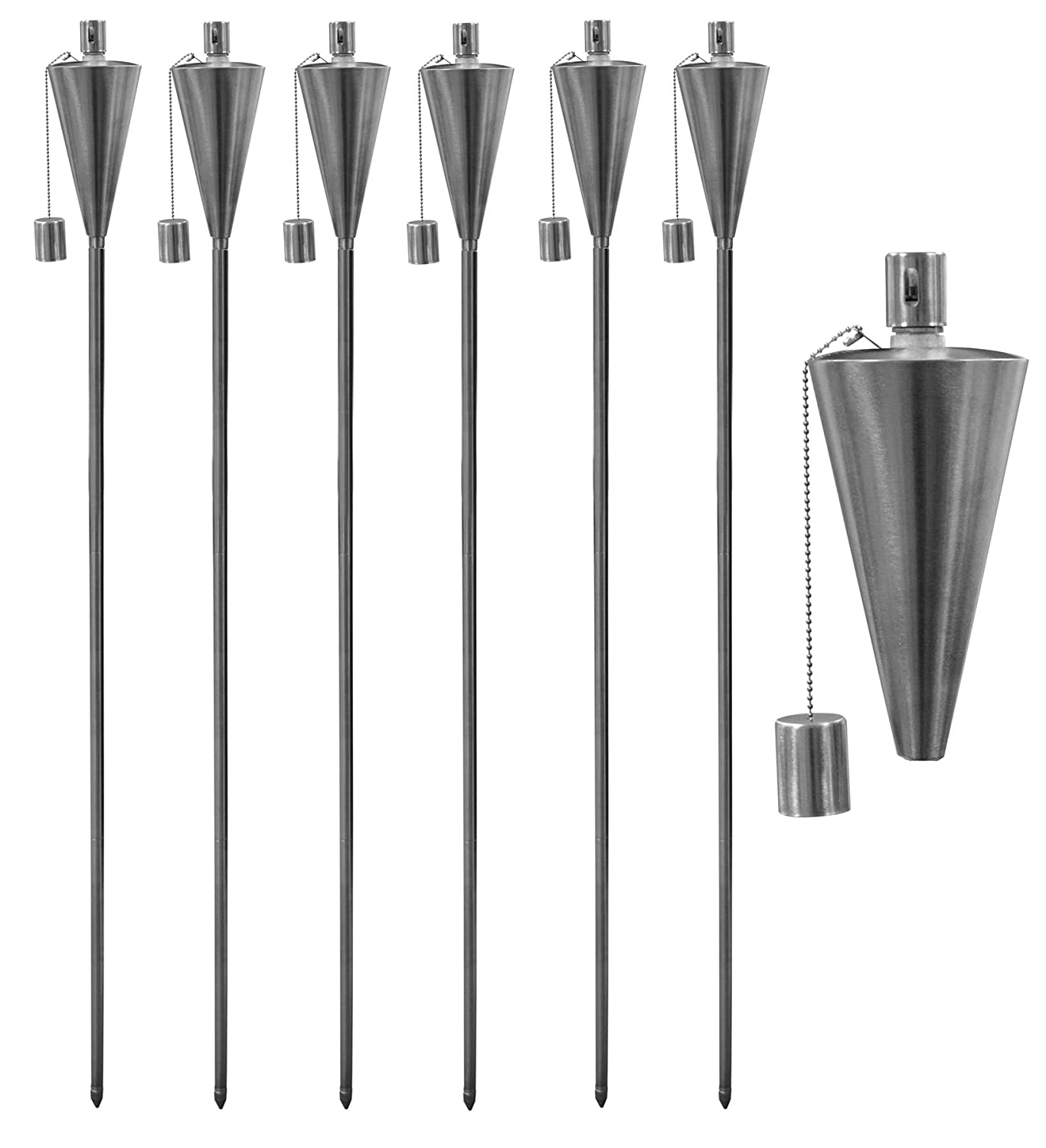 Garden Fire Torch - Oil/Paraffin Lantern - 1460mm Triangle Design - Pack of 6 Harbour Housewares