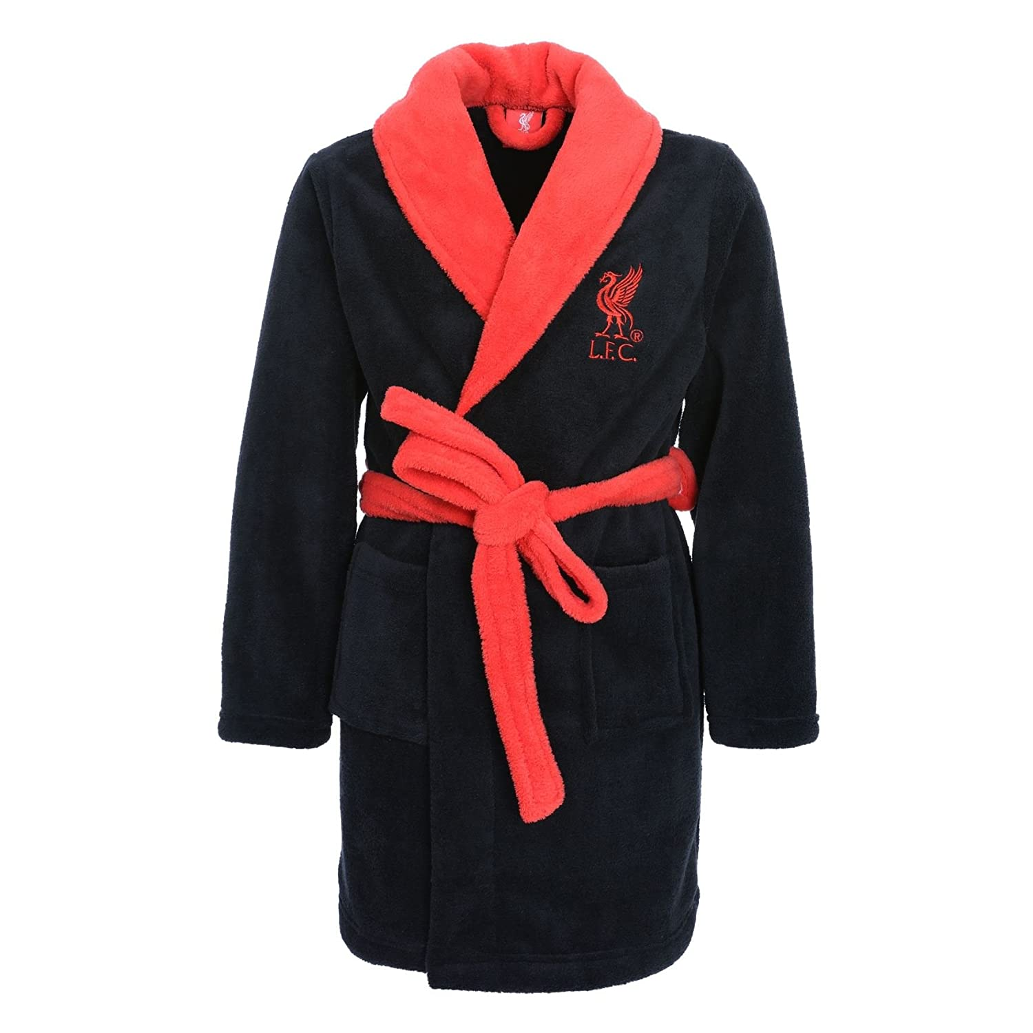 Liverpool FC LFC Kids Boys Black Red Bathrobe Dressing Gown Official