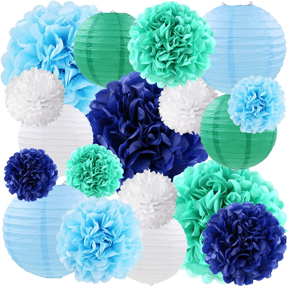 Blue Tissue Paper Lanterns Decorative Flowers Pom Poms Party Decorations, 18 pcs